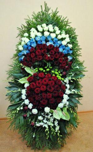 Венок на похороны из живых цветов 01