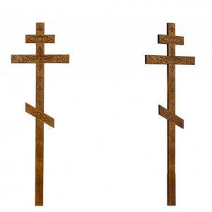 Крест на могилу Прямой с декором состаренный