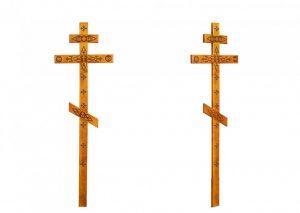 Крест на могилу с декором светлый