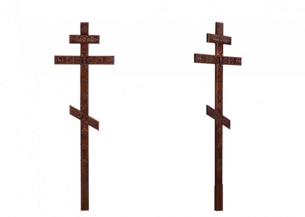 Крест на могилу с декором темный