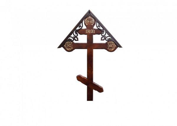 Крест на могилу Фигурный с крышкой темный