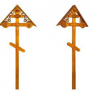 Крест на могилу Фигурный с орнаментом и крышкой