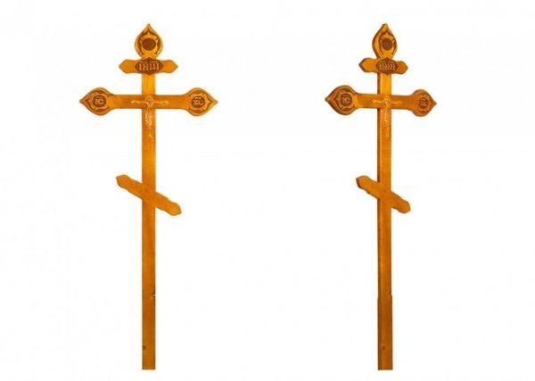 Крест на могилу Фигурный с орнаментом светлый