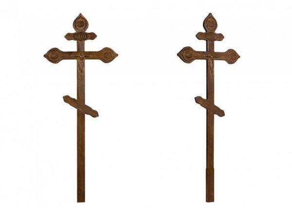 Крест на могилу Фигурный с орнаментом состаренный