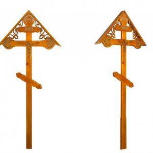 Крест на могилу Фигурный с распятьем и крышкой светлый