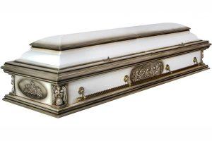 гроб Вегас Ангел белый, двухкрышечный гроб