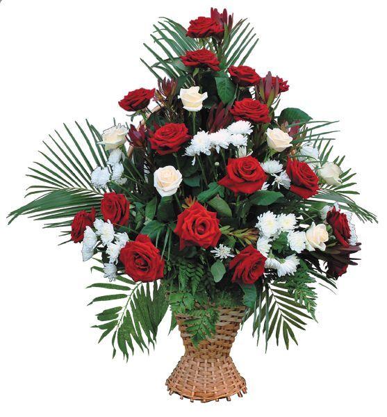 Корзина из живых цветов на похороны к4