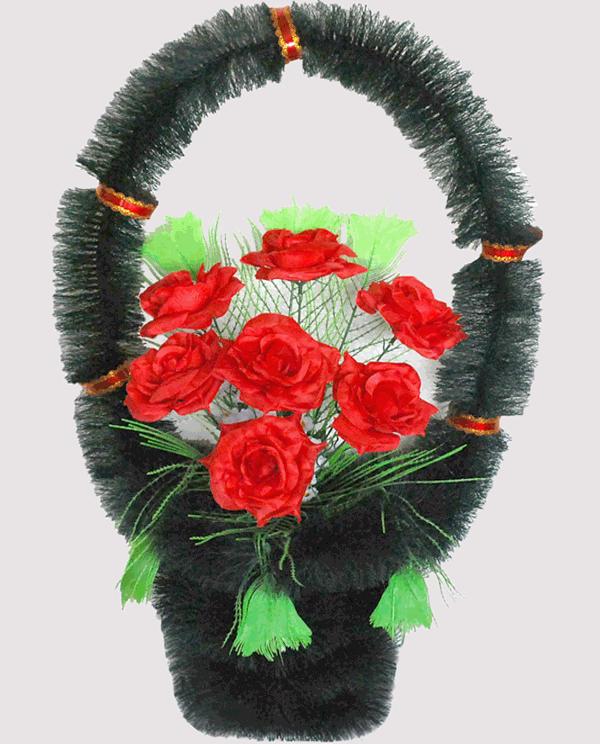 Корзина на могилу из искусственных цветов ks 1