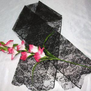 Шарф гипюр черный похоронный