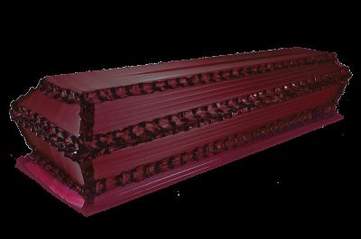 Гроб Гофре продольное бордо