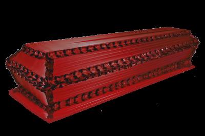 Гроб гофре продольное красный