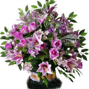 корзина на похороны из искусственных цветов Жардин 3