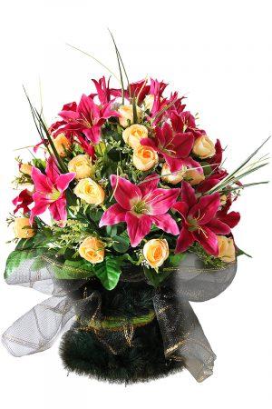 корзина ритуальная из искусственных цветов Жардин 6